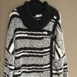 Calvin Klein black and white Cal neck sweater